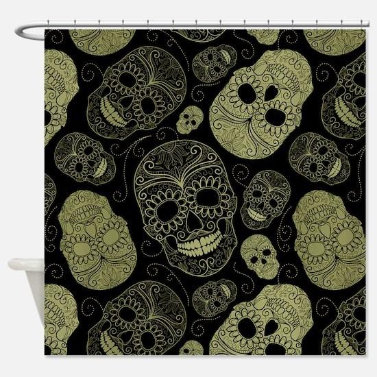 Gold Sugar Skulls Shower Curtain