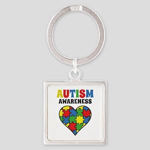 Autism Puzzle Square Keychain