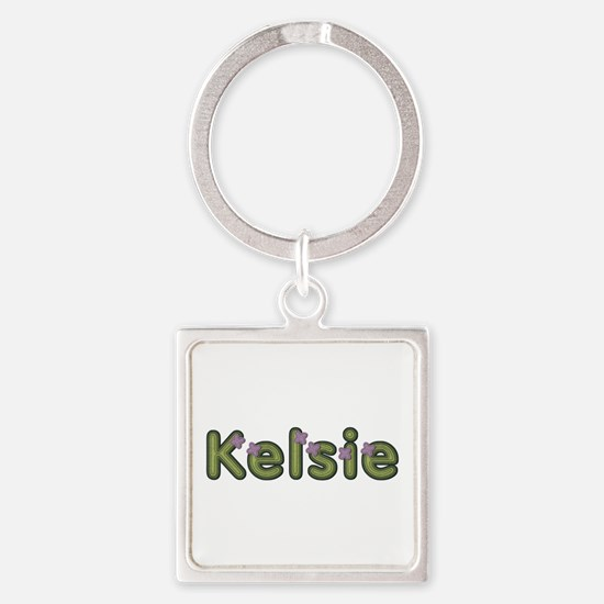 Kelsie Spring Green Square Keychain