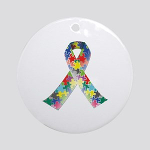 Autism Awareness Ribbon Ornament (Round)