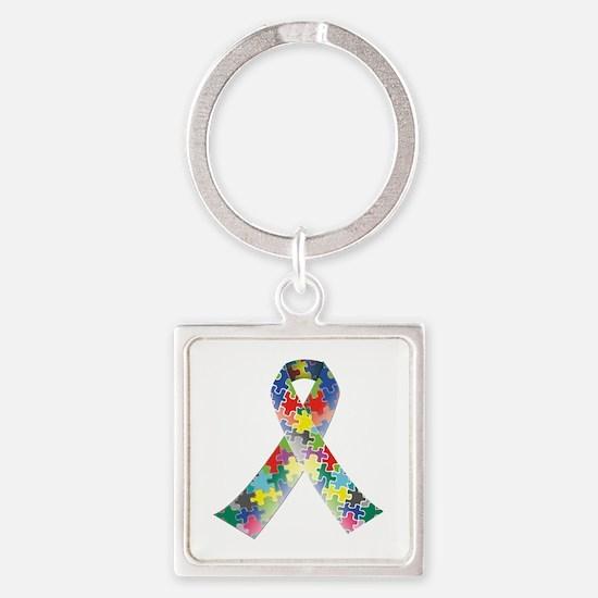 Autism Awareness Ribbon Square Keychain