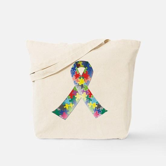 Autism Awareness Ribbon Tote Bag
