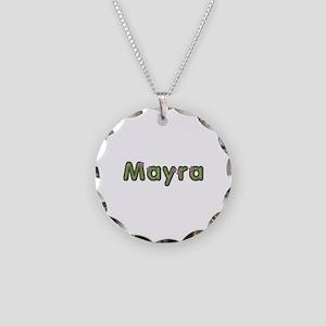 Mayra Spring Green Necklace Circle Charm