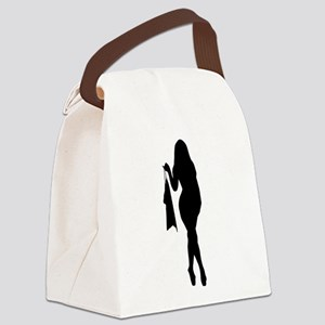 Sexy Pin Up Girl Silhouette Canvas Lunch Bag