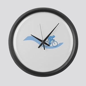 Cyclist Design in Blue. Large Wall Clock