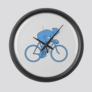 Cycling Design in Blue. Large Wall Clock