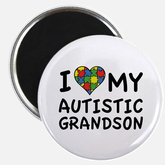 "I Love My Autistic Grandson 2.25"" Magnet (10 pack)"