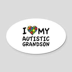 I Love My Autistic Grandson Oval Car Magnet