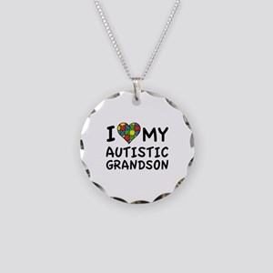 I Love My Autistic Grandson Necklace Circle Charm