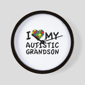 I Love My Autistic Grandson Wall Clock