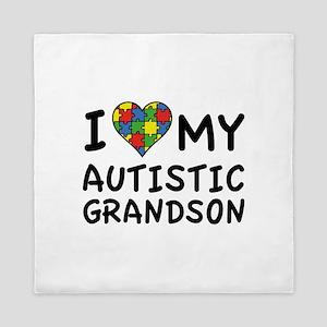 I Love My Autistic Grandson Queen Duvet