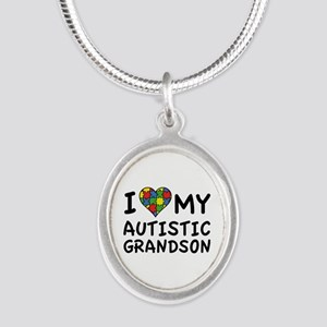 I Love My Autistic Grandson Silver Oval Necklace