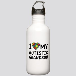 I Love My Autistic Grandson Stainless Water Bottle
