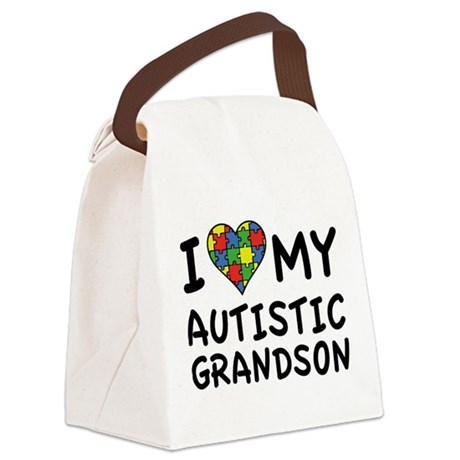 I Love My Autistic Grandson Canvas Lunch Bag