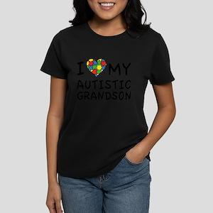 I Love My Autistic Grandson Women's Dark T-Shirt