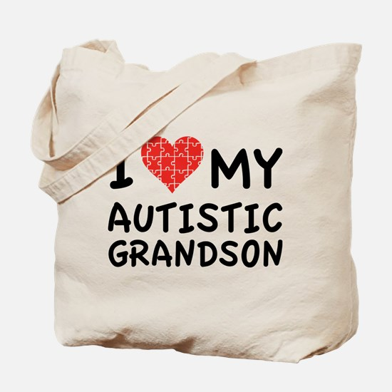 I Love My Autistic Grandson Tote Bag