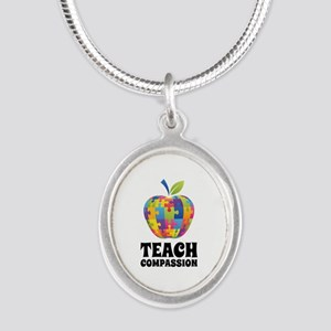 Teach Compassion Silver Oval Necklace