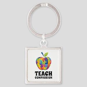 Teach Compassion Square Keychain