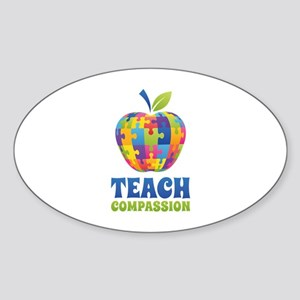 Teach Compassion Sticker (Oval)