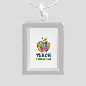 Teach Compassion Silver Portrait Necklace