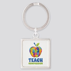 Teach Compassion Square Keychain