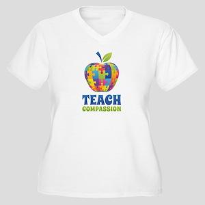 Teach Compassion Women's Plus Size V-Neck T-Shirt