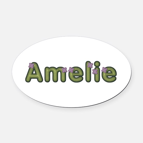 Amelie Spring Green Oval Car Magnet