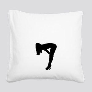 Sexy Pin Up Girl Silhouette Square Canvas Pillow