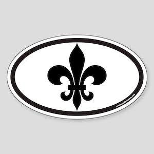 Fleur De Lis Euro Oval Sticker for New Orleans