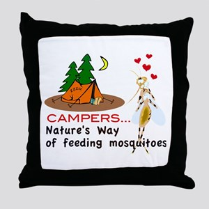 Camping: Campers and Mosquitoes Throw Pillow