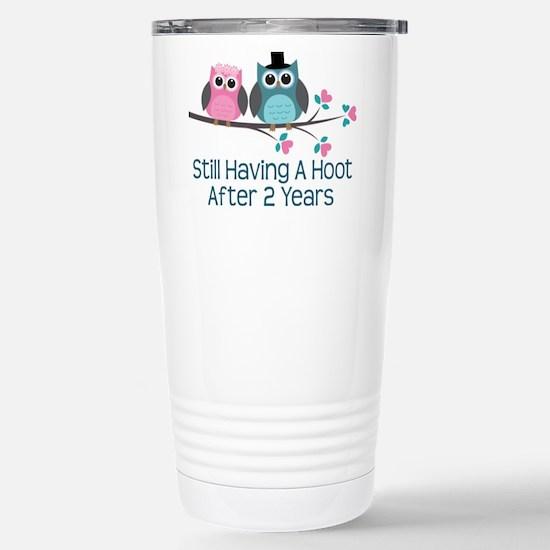 2nd Anniversary Owls Stainless Steel Travel Mug