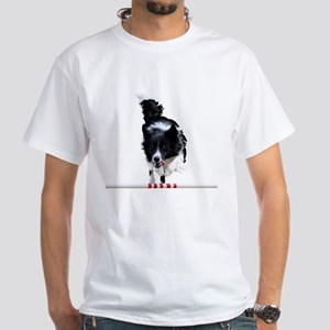 Border Collie jump White T-Shirt