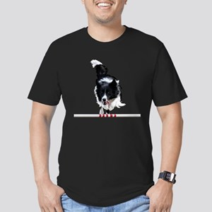 Border Collie jump Men's Fitted T-Shirt (dark)