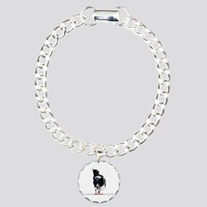 Border Collie jump Charm Bracelet, One Charm