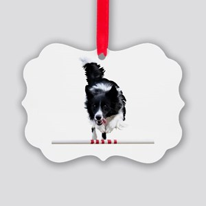 Border Collie jump Picture Ornament