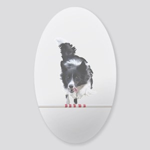 Border Collie jump Sticker (Oval)