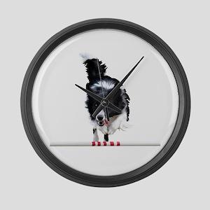 Border Collie jump Large Wall Clock