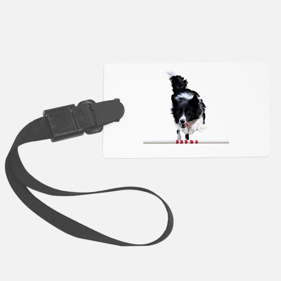 Border Collie jump Luggage Tag