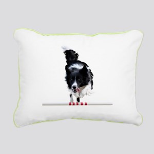 Border Collie jump Rectangular Canvas Pillow