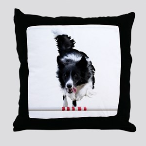 Border Collie jump Throw Pillow