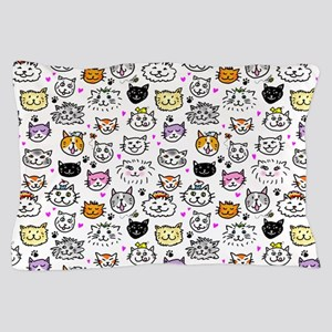 Whimsical Cat Faces Pattern Pillow Case