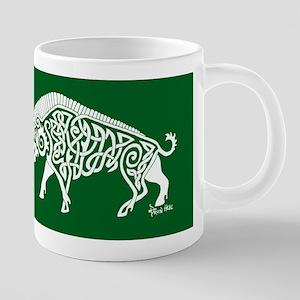 Celtic Knotwork Boar, White on Green Mugs