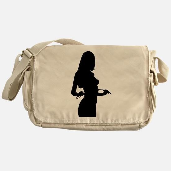 Sexy Pin Up Girl Silhouette Messenger Bag