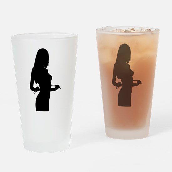 Sexy Pin Up Girl Silhouette Drinking Glass