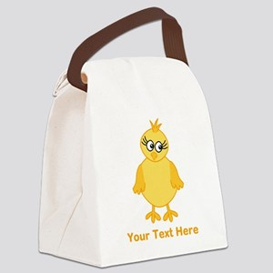 Cute Chick with Text. Canvas Lunch Bag