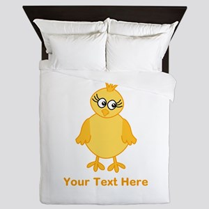 Cute Chick with Text. Queen Duvet