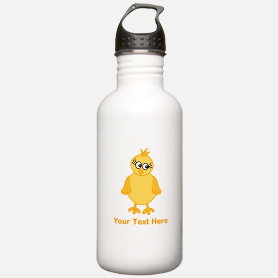 Cute Chick with Text. Water Bottle