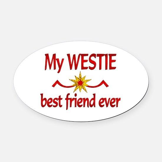 Westie Best Friend Oval Car Magnet