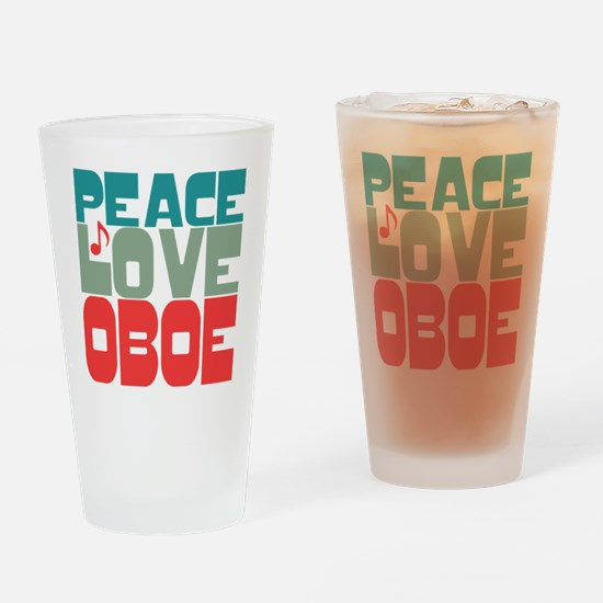 Peace Love Oboe Drinking Glass