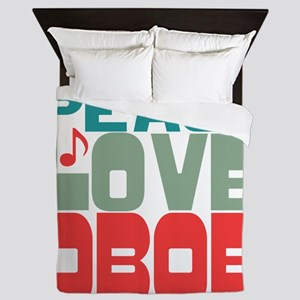 Peace Love Oboe Queen Duvet